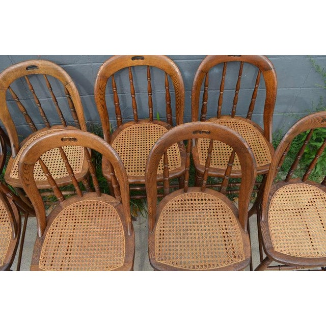 Wood Dining Room Chairs With Caned Seats. Victorian Windsor Bow Back Style. Set of 8. For Sale - Image 7 of 13