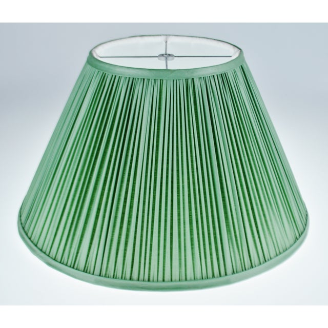 Traditional Vintage Green Pleated Fabric Lined Coolie Style Lamp Shade For Sale - Image 3 of 13