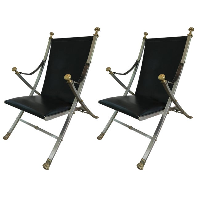 1970s Pair of Maison Jansen Campaign Armchairs For Sale - Image 5 of 5