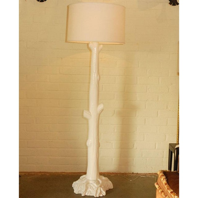 "Tall ""tree trunk"" lacquered finish wood floor lamp in off-white. One available (price quoted is for EACH lamp, NO shade..."