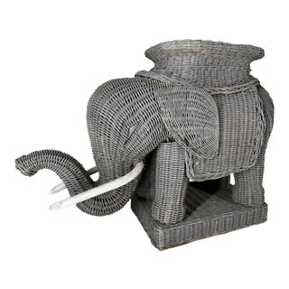 Wicker Elephant Garden Stool For Sale