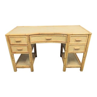 Victorian Style Bamboo & Woven Desk For Sale