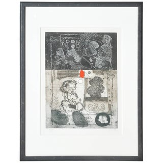 Mid-Century French Etching Untitled, Numbered and Signed For Sale