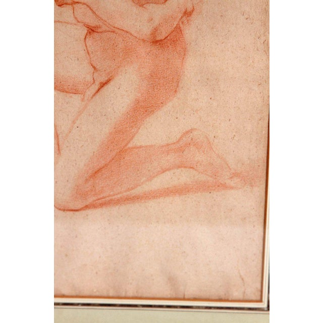 19th Century 19th Century Continental Red Chalk Drawing, Figure Study For Sale - Image 5 of 12