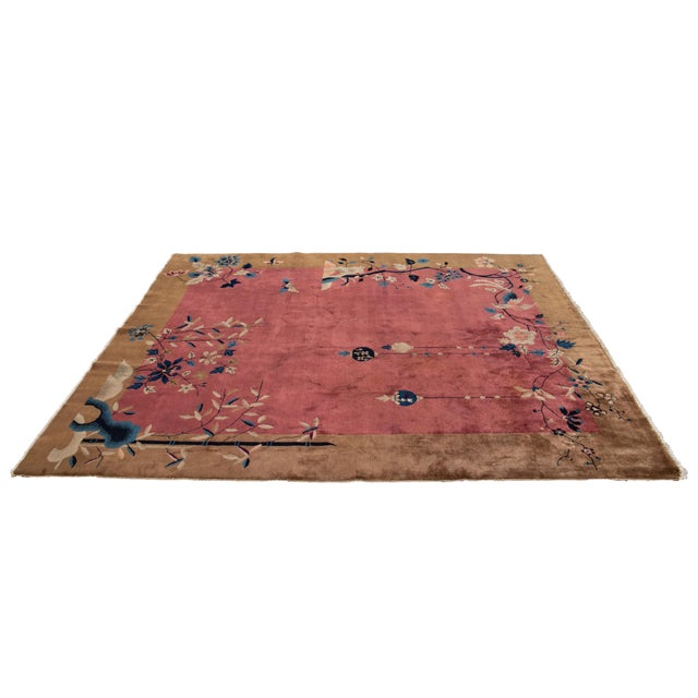 Early 20th Century Antique Art Deco Chinese Red Wool Rug For Sale - Image 11 of 13