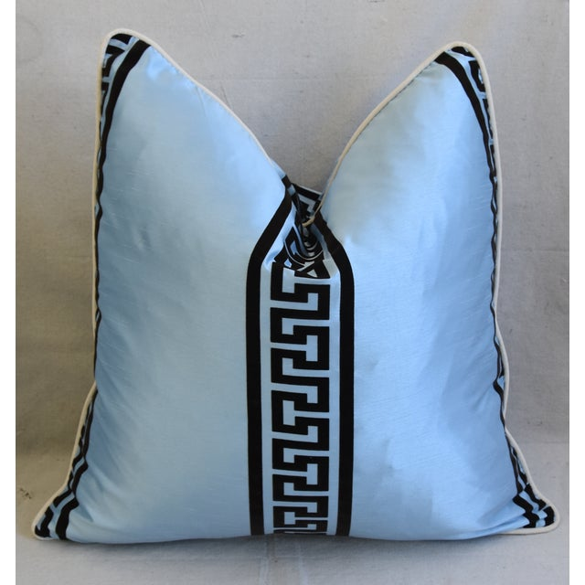 """Early 21st Century Blue Dupioni Satin Silk Greek Key Feather/Down Pillows 23"""" Square - Pair For Sale - Image 5 of 13"""