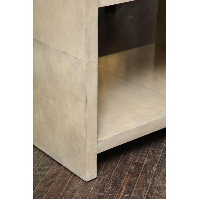 Tan Pair of Parchment Nightstands For Sale - Image 8 of 10