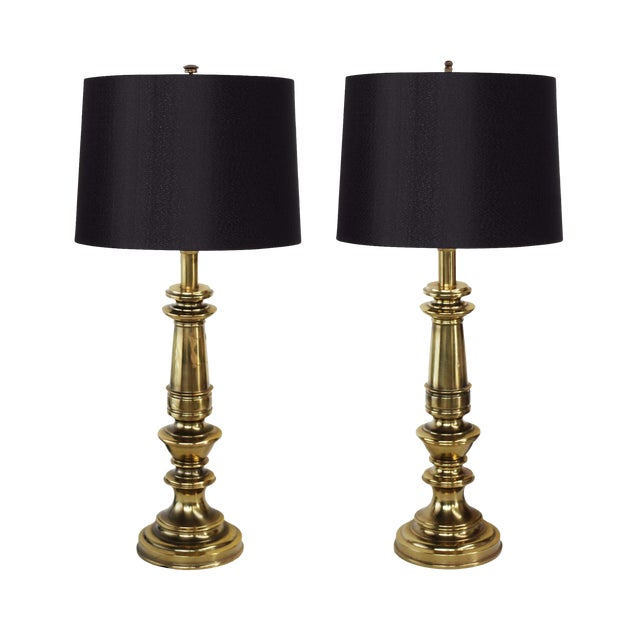 Stiffel Heavy Brass Table Lamps - a Pair For Sale