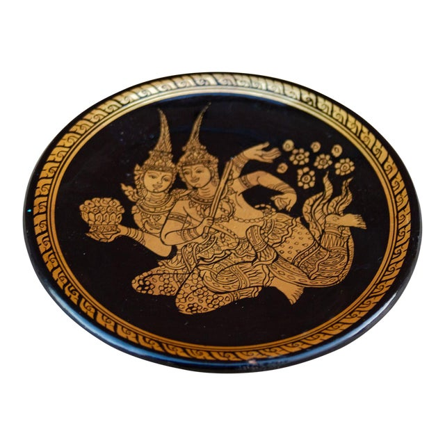 Painted Gilt Thai Plate For Sale