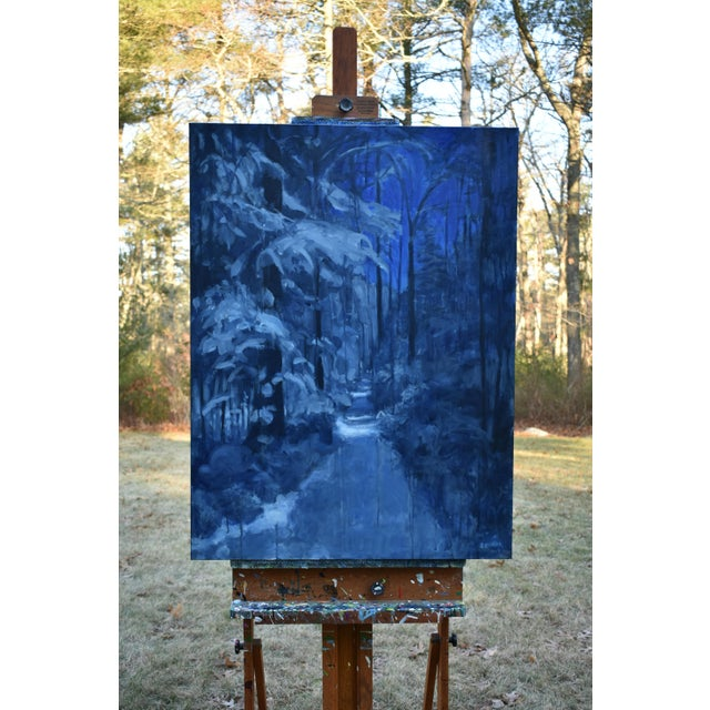 """Paint """"Following Moonlight"""" Contemporary Expressionist Painting by Stephen Remick For Sale - Image 7 of 11"""