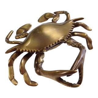 Antiqued Brass Blue Crab Paper Weight For Sale