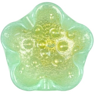 Barovier Toso Murano Light Green Gold Flecks Italian Art Glass Bowl Ashtray For Sale