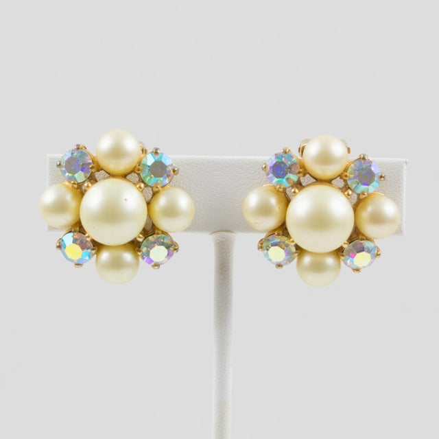 Metal Elsa Schiaparelli 1960s Clip-On Earrings Pearl Imitation & Borealis Rhinestones For Sale - Image 7 of 7
