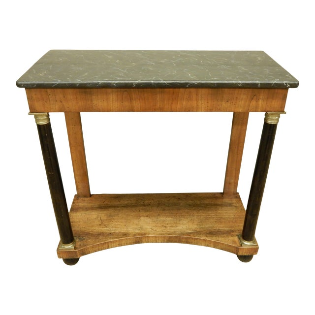 Neoclassical Italian Walnut/Faux Marble Top Console For Sale