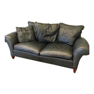 1990s Vintage Hancock & Moore Luxury Leather Couch Plush For Sale