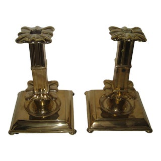 Polished Brass Column Candlesticks - a Pair For Sale