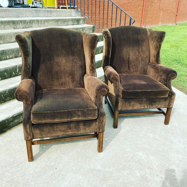 Ethan Allen Chocolate Brown Velvet Wingback Chairs- a Pair For Sale - Image 13 of 13