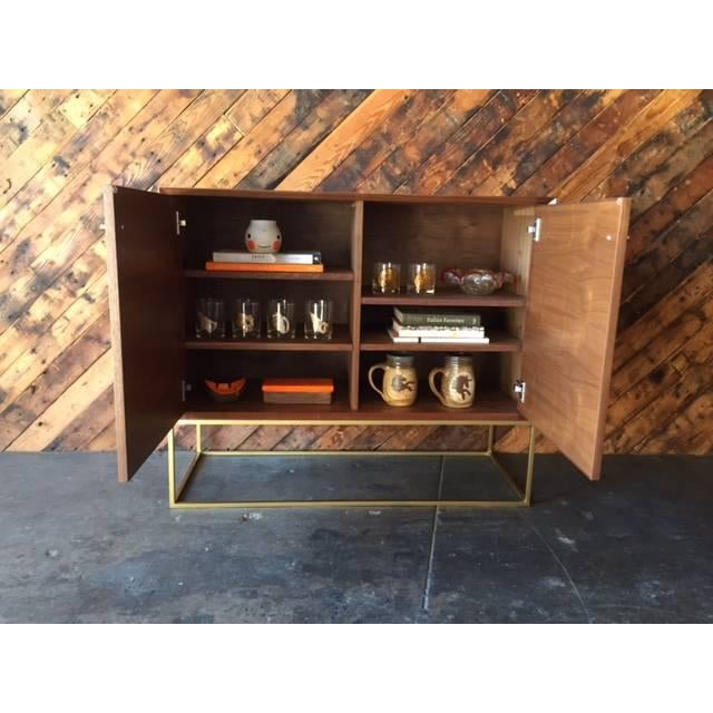 Custom Mid-Century Style Walnut & Brass Credenza For Sale In Los Angeles - Image 6 of 6