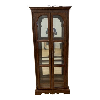 Traditional Wood + Glass Display Cabinet For Sale