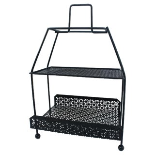 Tony Paul Black Perforated Metal Magazine Stand