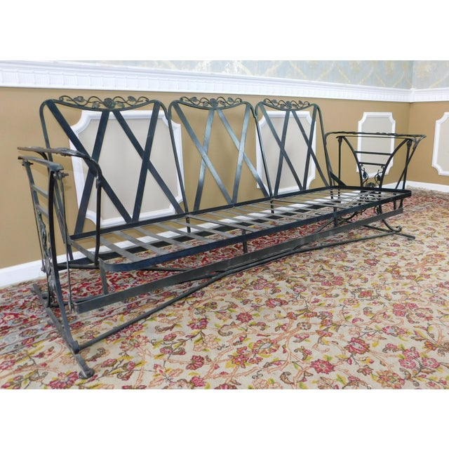 Vintage Lee Woodard & Sons Wrought Iron Glider Sofa For Sale - Image 9 of 11