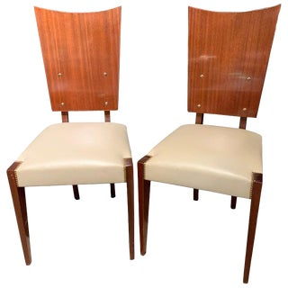 Set of Five Midcentury Art Deco Style Shield Back Dining, Office or Side Chairs For Sale