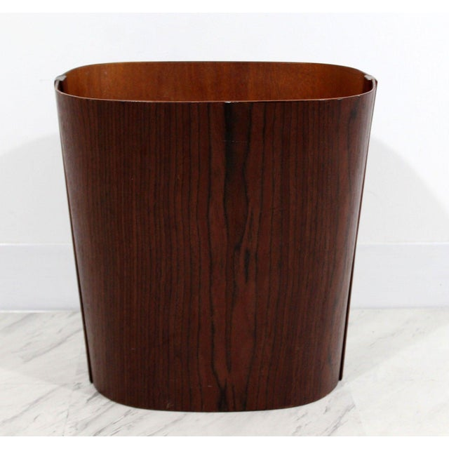 Mid Century Modern Small Wooden Wastebasket Trash Can Mobler Denmark 1960s For Sale - Image 12 of 12