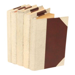 Hide Collection White Cowhair Books - Set of 5 For Sale