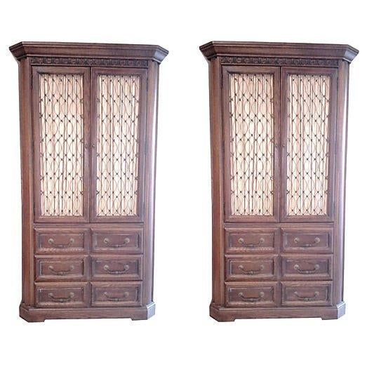 Conant Ball Tall Oak Armoires - Pair - Image 1 of 7