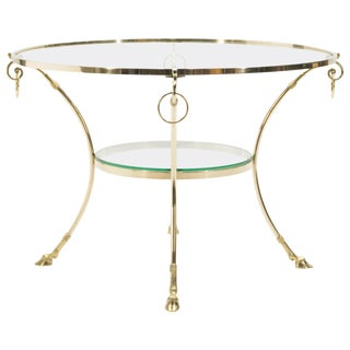Large French Neoclassical Maison Charles Brass Gueridon Side Table, 1970s For Sale