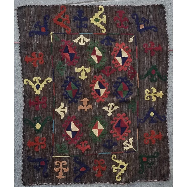 """Textile Hand Woven Hand Embroidered Wool Rug-5'6'x6'8"""" For Sale - Image 7 of 7"""