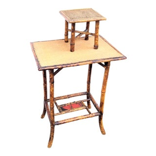Victorian Anglo-Asian Style Tortoise Shell Bamboo Table Set - 2 Pieces For Sale