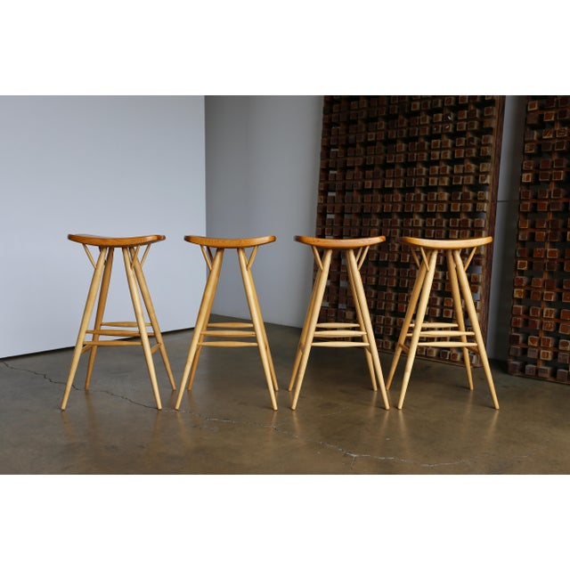 Rare Early Set of Four Stools by Ilmari Tapiovaara for Laukaan Puu. Finland circa 1955