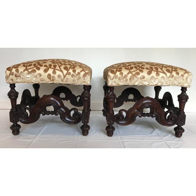 Charles II Style English Jacobean Tutor Mahogany Footstool Upholstered in Beacon Hill Sommer Sonata - a Pair For Sale - Image 13 of 13