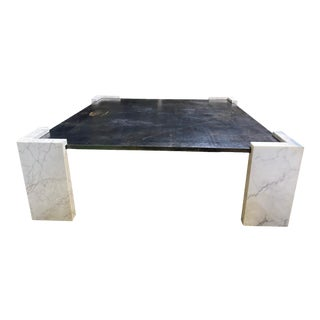 Blackened Steel and Marble Square Coffee Table For Sale