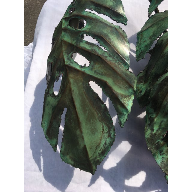 """Garland Faulkner Enameled Copper Monstera """"Swiss Cheese Plant"""" Wall Sconce For Sale - Image 5 of 6"""