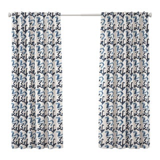 "96"" Blackout Curtain in Navy Ribbon by Angela Chrusciaki Blehm for Chairish For Sale"