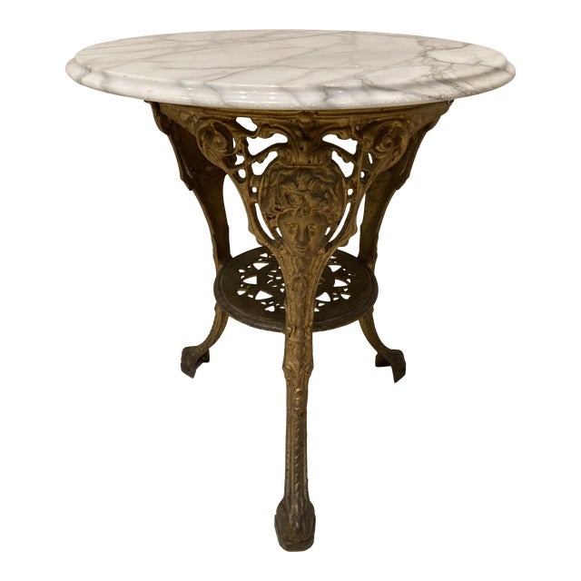 Vintage English Cast Iron Pub Table With Marble Top For Sale