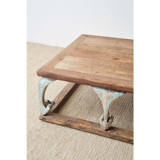 Monumental Weathered Pine Coffee Cocktail Table For Sale - Image 10 of 13