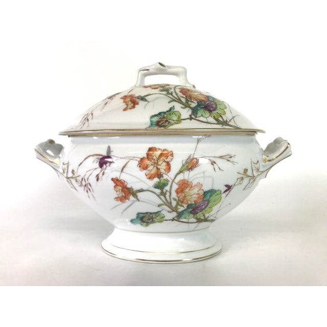 Limoges Delinieres & Co Porcelain With Floral Design Serving Platter from Late 1800s For Sale - Image 11 of 12