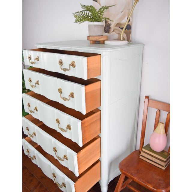 Green Serpentine French Provincial Green Mint Highboy Dresser For Sale - Image 8 of 9