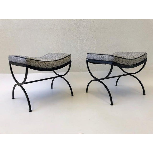 Metal Black Sculptura Ottomans by Woodard - a Pair For Sale - Image 7 of 11