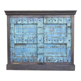 Aged Turquoise Old Door Cabinet For Sale