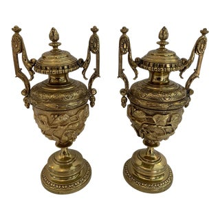 Revival Style Cast Brass Relief Lidded Urns - a Pair For Sale