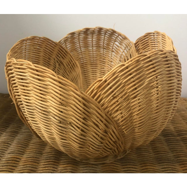 Floriform Structural Natural Woven Wicker Basket Bowl For Sale - Image 10 of 10