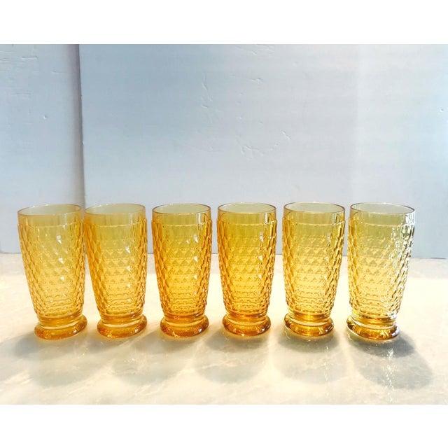 Set of Seven Vintage Villeroy & Boch Crystal Highball Glasses in Amber For Sale - Image 10 of 13
