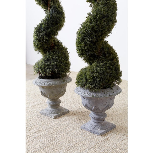 Pair of Faux Spiral Cypress Trees in Urns For Sale - Image 10 of 13