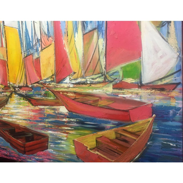 """2000 - 2009 Huge Original Joseph Friedrich Modern Fauvism Expressionist Painting Sailboats in Port O/C - 40"""" X 50"""" For Sale - Image 5 of 13"""