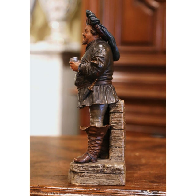 19th Century French Polychrome Terracotta Musketeer Beer Drinker Figurine For Sale In Dallas - Image 6 of 10