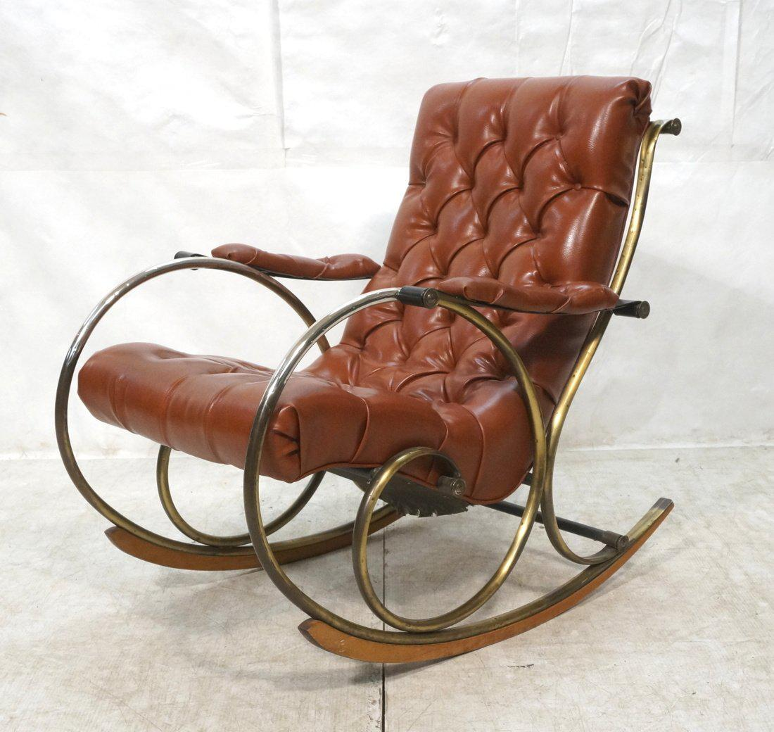 Lee L. Woodard Mid Century Brass U0026 Vinyl Rocker Rocking Chair, Circa 1950